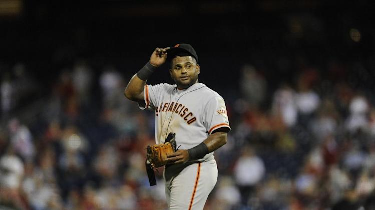 San Francisco Giants' Pablo Sandoval is seen during a baseball game against the Philadlephia Phillies on Monday, July 21, 2014, in Philadelphia. (AP Photo/Michael Perez)
