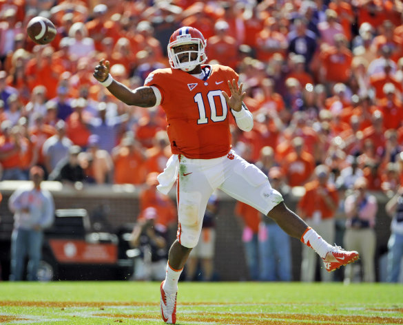Clemson quarterback Tajh Boyd throws a pass against Virginia Tech during the second half of an NCAA college football game on Saturday, Oct. 20, 2012, in Clemson, S.C. (AP Photo/Rainier Ehrhardt)