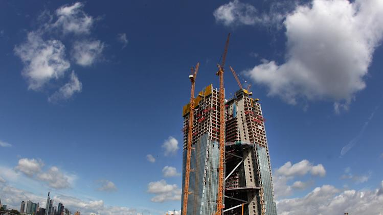 The construction site of the new headquarter of the European Central Bank called Skytower is photographed in Frankfurt, Germany, Wednesday, July 18, 2012.. The ECB is supposed to move into the new building in the eastern part of Frankfurt in 2014. (AP Photo/Michael Probst)