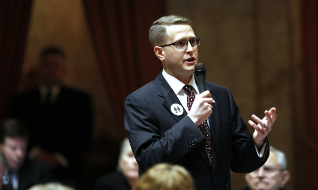 Rep. Matt Shea, R-Spokane Valley, speaks about a proposed amendment to a gay marriage bill Wednesday, Feb. 8, 2012, in Olympia, Wash. Lawmakers are poised to legalize gay marriage in Washington state,