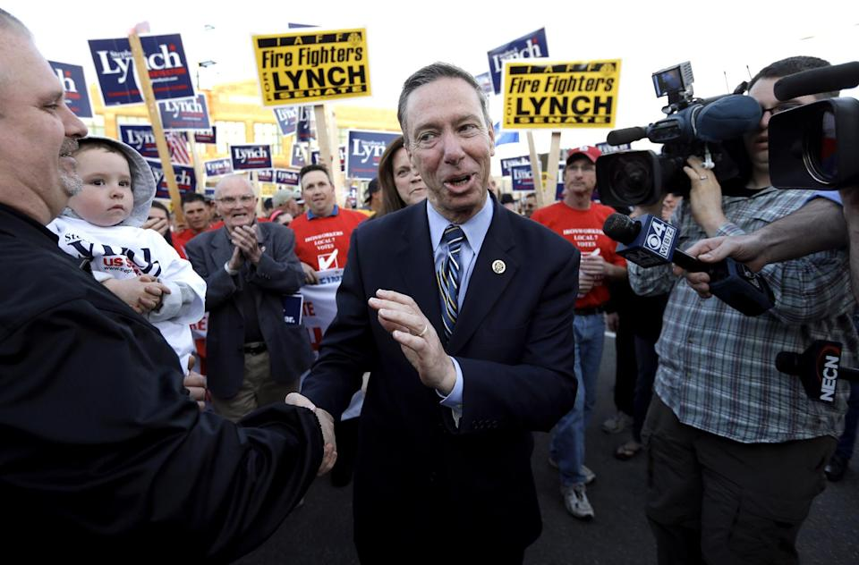 Democratic candidate for the U.S. Senate, Rep. Stephen Lynch, D-Mass., center, greets supporters before addressing an audience at a campaign rally in Boston, Monday, April 29, 2013. (AP Photo/Steven Senne)