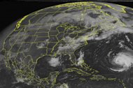 This NOAA satellite image taken Thursday, September 06, 2012 at 10:45 AM EDT shows an area of low pressure over southeastern Canada with a cold front extending southward through the eastern United States. Showers and thunderstorms are being produced along this boundary mainly over the Mid-Atlanic. A cold front extending from a low pressure system in Ontario will support thunderstorm activity over New York State. Farther west, strong to severe thunderstorms will develop over Oklahoma, Kansas and into the Middle Mississippi Valley along a stationary boundary. To the south, an area of low pressure over the northern Gulf of Mexico has a medium chance of tropical cyclone development. In the Atlantic Hurricane Leslie is located south of Bermuda tracking northward.(AP PHOTO/WEATHER UNDERGROUND)