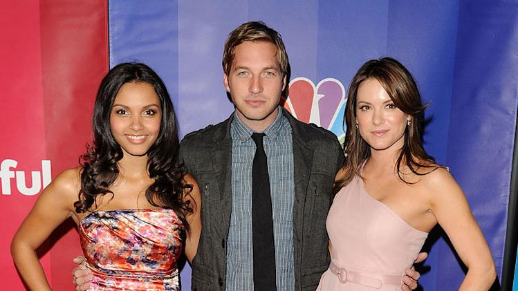 Jessica Lucas, Ryan Hansen, and Danneel Harris attend the 2010 NBC Upfront presentation at The Hilton Hotel on May 17, 2010 in New York City.