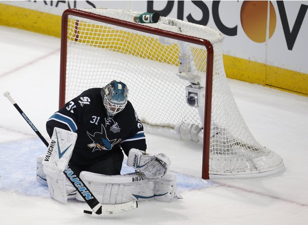 Sharks' Niemi makes a save during Game 3 of his NHL Western Conference semifinal playoff hockey game against Kings in San Jose