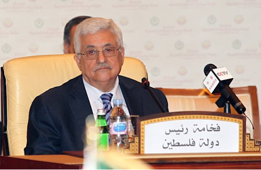 Palestinian president Mahmoud Abbas during the opening of the Arab League Monitoring Committee to put the finishing touches on the Palestinian bid for UN membership Tuesday, in Doha, on Tuesday Aug 23, 2011.(AP Photo/Osama Faisal)
