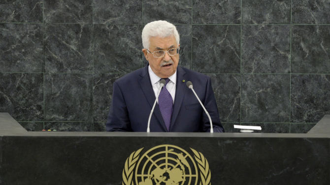 Mahmoud Abbas, President of the Palestinian Authority, speaks during the general debate of the 68th session of the United Nations General Assembly on Thursday Sept. 26, 2013 at U.N. headquarters. (AP Photo/Justin Lane,Pool)