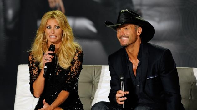 Faith Hill and Tim McGraw appear at a news conference announcing their upcoming 'Soul2Soul' perfomances at The Venetian, Las Vegas, on August 7, 2012 -- Getty Images