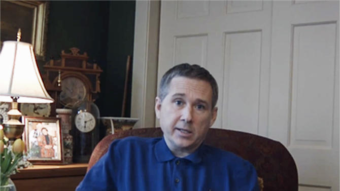 FILE - This image made from video provided by Sen. Mark Kirk's office on Tuesday, May 8, 2012 shows Sen. Mark Kirk, R-Ill. making his first remarks since suffering a stroke in January 2012. Kirk released a second video message Sunday, Aug. 5, 2012 showing improved mobility and speech and detailing his work to find a replacement for U.S. Attorney Patrick Fitzgerald. (AP Photo/Courtesy of Sen. Mark Kirk's office)