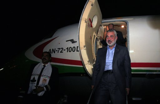 Hamas' Gaza leader Ismail Haniyeh arrives at the Khartoum Airport