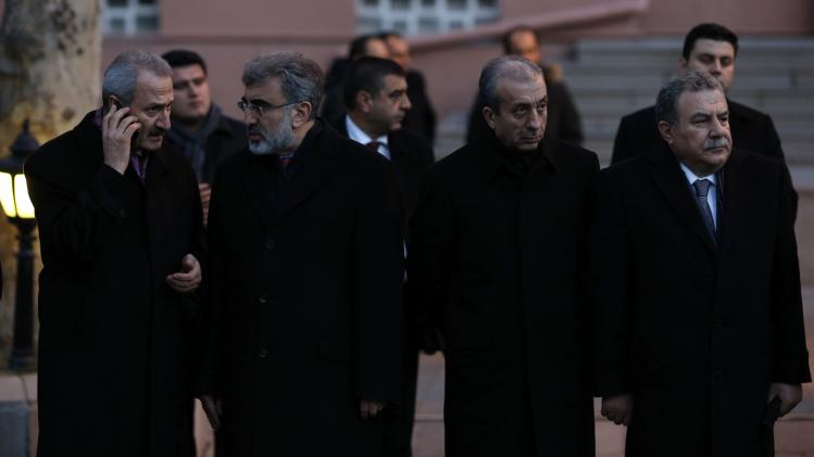 Ministers of Turkey's ruling Ak Party attend a ceremony in Ankara