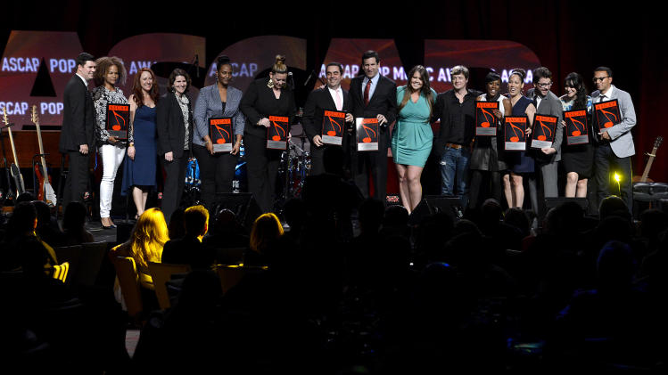Recipients of the Most Performed Song Universal Music Publishing Group seen onstage at the 30th Annual ASCAP Pop Music Awards, on Wednesday, April 16, 2013, at Loews Hollywood Hotel in Hollywood, California. (Photo by Phil McCarten/Invision for ASCAP/AP Images)