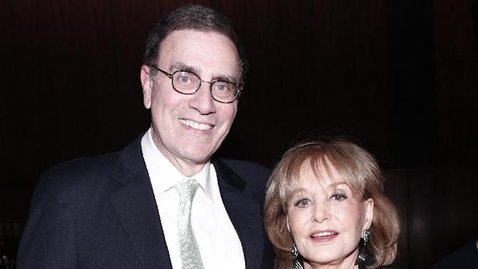 In this photograph taken by AP Images for The Hollywood Reporter Barbara Walters and Jimmy Finkelstein are seen at The Hollywood Reporter 35 Most Powerful People in Media event on Wednesday, April 11, 2012 in New York. (Evan Agostini/AP Images for The Hollywood Reporter)