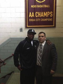 50 Cent and Christ the King boys basketball coach Joe Arbitello just chilling -- New York Daily News