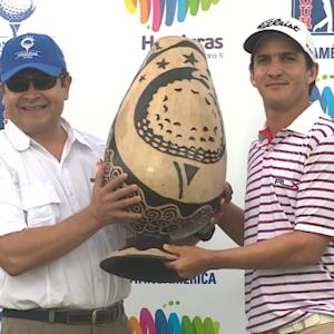 Felipe Velazquez enters the winners circle at the Honduras Open