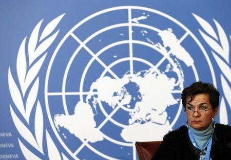 iFigueres Executive Secretary of the UNFCCC listens during a news conference after a week long preparatory meeting at the UN in Geneva