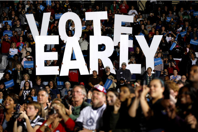 "FILE - This Oct. 29, 2012 file photo shows a""Vote Early""  sign as former President Bill Clinton spoke at a President Barack Obama campaign rally in Youngstown, Ohio. Stock up on munchies and make sure"