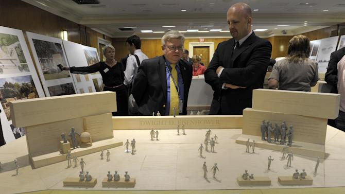 Architect Frank Gehry's model of the Eisenhower Memorial is viewed on Capitol Hill in Washington, Tuesday, May 15, 2012, before a meeting of the Eisenhower Memorial Commission. Designers from architect Frank Gehry's firm unveiled some changes to a planned memorial honoring President Dwight D. Eisenhower in Washington after hearing complaints from members of Eisenhower's family. (AP Photo/Susan Walsh)