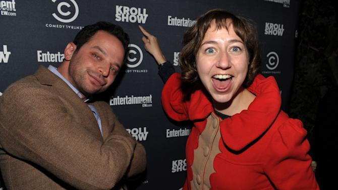 """IMAGE DISTRIBUTED FOR ENTERTAINMENT WEEKLY - Actor/comedian Nick Kroll, left, and Kristen Schaal attend an exclusive screening of Comedy Central's """"Kroll Show"""" hosted by Entertainment Weekly on Tuesday, January 15, 2013 at LA's Silent Movie Theatre in Los Angeles. (Photo by John Shearer/Invision for Entertainment Weekly/AP Images)"""