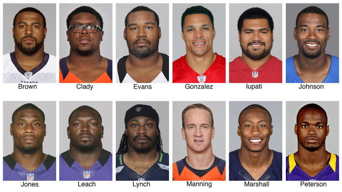 FILE - These 2012 file photos show members of The Associated Press 2012 NFL football All-Pro offensive team. Top row from left are Duane Brown, Houston Texans; Ryan Clady, DenverBroncos; Jahri Evans, New Orleans Saints; Tony Gonzalez, Atlanta Falcons; Mike Iupati, San Francisco 49ers, and Calvin Johnson, Detroit Lions. Bottom row from left are Jacoby Jones, Baltimore Ravens; Vonta Leach, Baltimore Ravens; Marshawn Lynch, Seattle Seahawks; Peyton Manning, Denver Broncos; Brandon Marshall, Chicago Bears, and Adrian Peterson, Minnesota Vikins. (AP Photo/File)