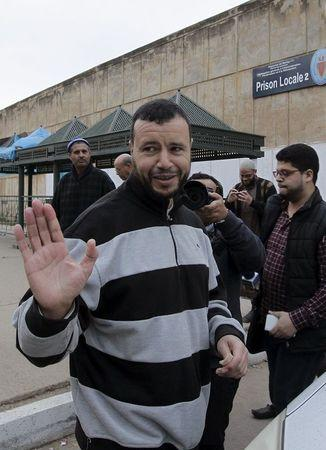 Younes Abdurrahman Chekkouri, a former Guantanamo detainee from Morocco, is seen after he was released on bail from Sale Jail, near the city of Rabat,