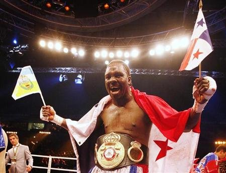 Jones of Panama celebrates after defeating Arslan of Germany in their WBA cruiserweight world championship boxing fight in Hamburg