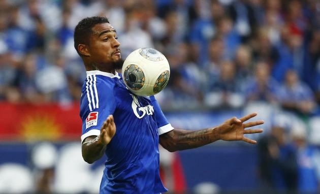 Boateng of Schalke 04 controls the ball during their German first division Bundesliga soccer match against Bayer Leverkusen in Gelsenkirchen