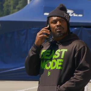 Seattle Seahawks running back Marshawn Lynch arrives at Seahawks' camp