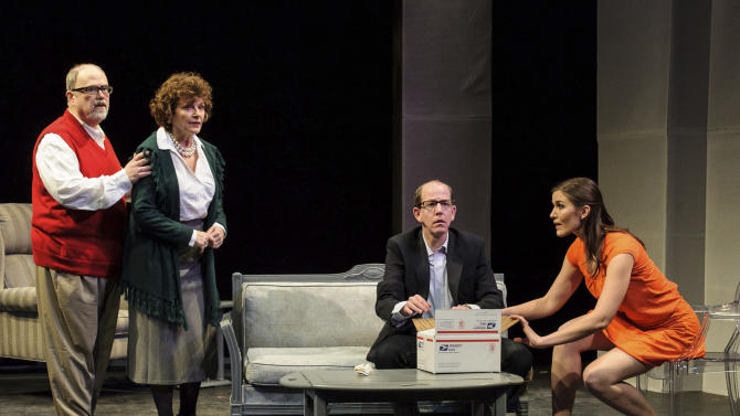 "In this undated publicity photo released by Springer Associates PR, from left, Brian Tom O'Connor, Angelina Fiordellisi, Jarel Davidow and Meredith Howard perform in a scene from 'The Truth Quotient,"" performing in repertory with ""R.U.R (Rossum's Universal Robots)"" presented off-Broadway by Resonance Ensemble as ""Creating Connections"" at Theatre Row's Beckett Theatre in New York. (AP Photo/Springer Associates PR, Jon Kandel)"