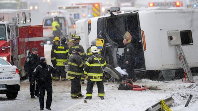 Bus Overturns on Snowy Connecticut Highway En Route to Casino from NYC