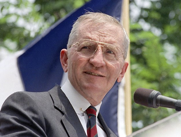 "FILE - This 1992 file photo shows presidential hopeful H. Ross Perot at a rally in Austin, Texas. The 82-year-old Texas billionaire and former presidential candidate has a deal with Simon & Schuster for his autobiography, scheduled to come out in January. The publisher announced Tuesday that Perot's book is called ""Ross Perot: My Life."" (AP Photo, file)"