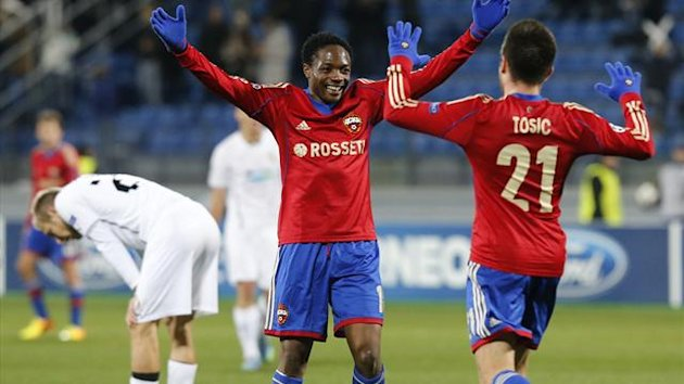 CSKA Moscow's Ahmed Musa (C) and Zoran Tosic (R) celebrate
