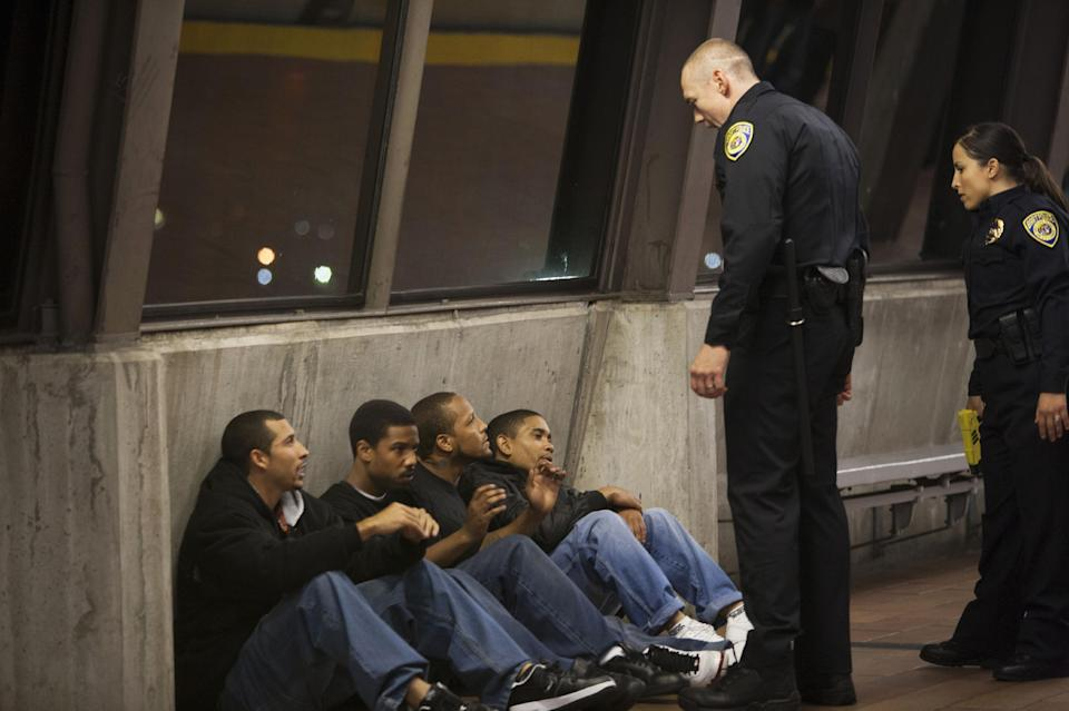 "This publicity photo released by The Weinstein Company shows, from left, Michael James, Michael B. Jordan, Trestin George, Thomas Wright, Kevin Durand and Alejandra Nolasco in a scene from the film, ""Fruitvale Station."" (AP Photo/The Weinstein Company, Ron Koeberer)"