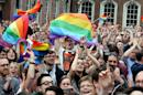 Supporters outside Dublin Castle cheer the result of the same-sex marriage referendum on May 23, 2015