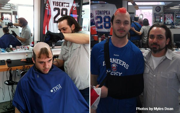 Niagara IceDogs forward Mitchell Theoret and stylist Will