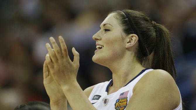 Connecticut center Stefanie Dolson (31) reacts from the bench during first half of the national championship game against Louisville of the women's Final Four of the NCAA college basketball tournament, Tuesday, April 9, 2013, in New Orleans. (AP Photo/Gerald Herbert)