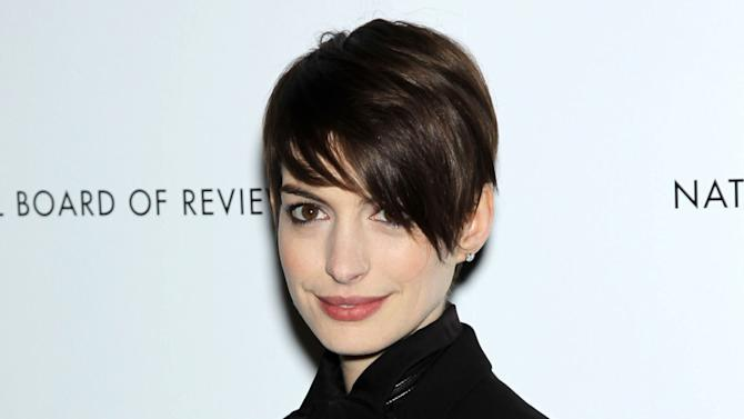 "This Jan. 8, 2013 photo released by Starpix shows actress Anne Hathaway from ""Les Miserables,"" at the National Board of Review awards gala at Cipriani 42nd Street in New York. Hathaway was nominated  for an Academy Award for best supporting actress on Thursday, Jan. 10, 2013, for her role in the film.  The 85th Academy Awards will air live on Sunday, Feb. 24, 2013 on ABC.   (AP Photo/Starpix, Marion Curtis)"