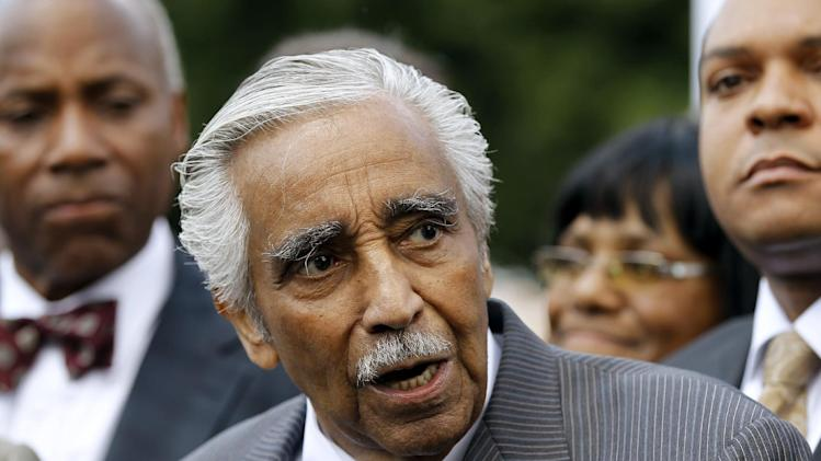 Rep. Charlie Rangel, D-NY, speaks about the New York Police Department's stop and frisk policy, Thursday, June 7, 2012, during a news conference on Capitol Hill in Washington. (AP Photo/Haraz N. Ghanbari)