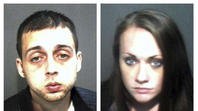 These Wednesday, Nov. 28, 2012 booking photos released by the Orange County Corrections Department show Roland Dow, left, and Jessica Linscott, of Plaistow, N.H., who were arrested Wednesday evening at Universal Studios in Orlando, Fla.  Dow, 27, and Linscott, 23, who authorities said spent two weeks on the run, were wanted in connection with injuries to Linscott's son, including burns and significant head injuries.  (AP Photo/Orange County, Fla., Corrections Department)