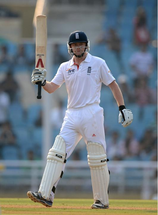 Jonathan Bairstow of England salutes the crowd after reaching his century during day one of the tour match between Mumbai A and England at The Dr D.Y. Palit Sports Stadium on November 3, 2012 in Mumba
