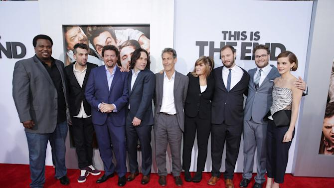 Craig Robinson, Co-Producer Jay Baruchel, Danny McBride, Paul Rudd, Sony's Michael Lynton, Sony's Amy Pascal, Director/Producer/Writer Evan Goldberg, Director/Producer/Writer Seth Rogen and Emma Watson at Columbia Pictures 'This is The End' Premiere on Monday, June, 3, 2013 in Los Angeles. (Photo by Eric Charbonneau/Invision for Columbia Pictures/AP Images)