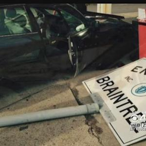Metal Sign Impales Car Windshield in Braintree, Narrowly Misses Driver