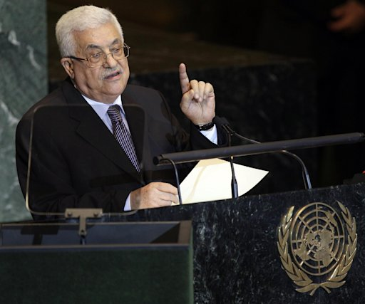 Palestinian President Mahmoud Abbas addresses the 66th session of the United Nations General Assembly, Friday, Sept. 23, 2011 at UN Headquarters. (AP Photo/Mary Altaffer)