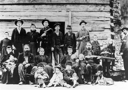 The Hatfield clan poses in April 1897 at a logging camp in southern West Virginia. The most infamous feud in American folklore, the long-running battle between the Hatfields and McCoys, may be partly 