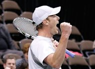 Sam Querrey of the United States celebrates winning his match against Thiago Alves, on February 3, 2013, in Florida. Querrey beat Alejandro Falla for the second time in less than a week on Tuesday, defeating the Colombian 6-3, 6-3