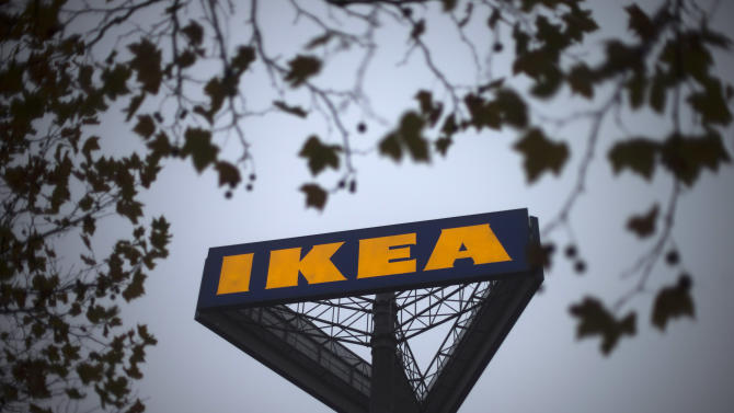 FILE - In this Nov. 16, 2012 file photo, a sign bearing the Ikea logo is seen outside a store in Berlin. The Czech veterinary authority said Monday, Feb. 25, 2013 it detected horse meat in meat balls labeled as beef and pork imported to the country by Sweden's furniture retailer giant Ikea. The State Veterinary Administration says the one-kilogram packs of the frozen meat balls were made in Sweden to be sold in Ikea's furniture stores that also offer typical Swedish food. (AP Photo/Markus Schreiber, File)