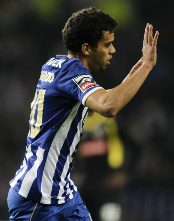 Porto's Carlos Eduardo celebrates his goal against Arouca during their Portuguese Premier League soccer match in Porto
