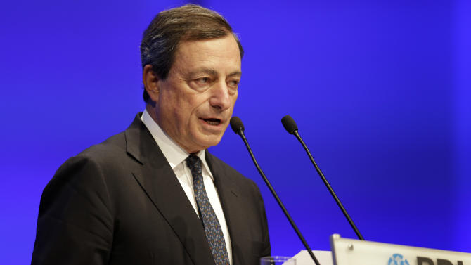President of the European Central Bank, ECB, Mario Draghi speaks during the annual meeting of the umbrella Association of German Industry, BDI, in Berlin, Germany, Tuesday, Sept. 25, 2012. (AP Photo/Michael Sohn)