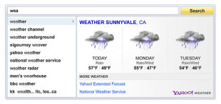 Screenshot of Local Weather via Search Direct