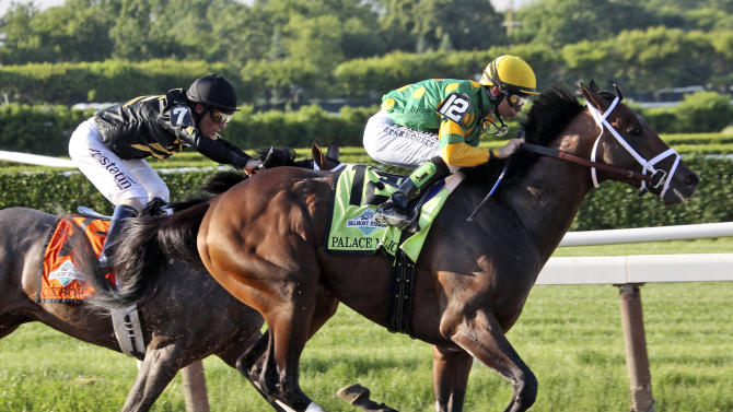 Palace Malice , right, ridden by jockey Mike Smith, battles Oxbow, with jockey Gary Stevens up, around the fourth turn in the Belmont Stakes horse race in Elmont, N.Y., Saturday, June 8, 2013. Palace Malice won the race, Oxbow finished second. (AP Photo/Peter Morgan)