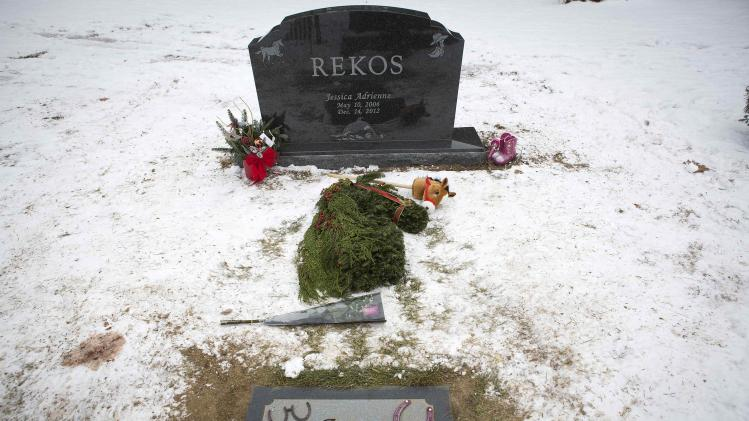 The grave of Sandy Hook Elementary School shooting victim Jessica Rekos is pictured in Sandy Hook village in Newtown